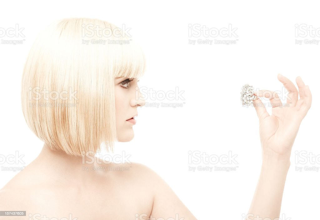 Woman Looking at Ring royalty-free stock photo