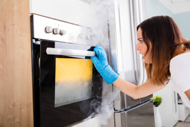 woman looking at smoke coming out of oven - burned oven imagens e fotografias de stock