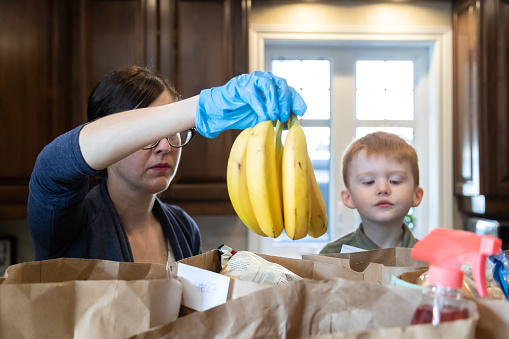 istock Woman looking at the grocery at home with her son during Covid-19 Crisis 1217707066