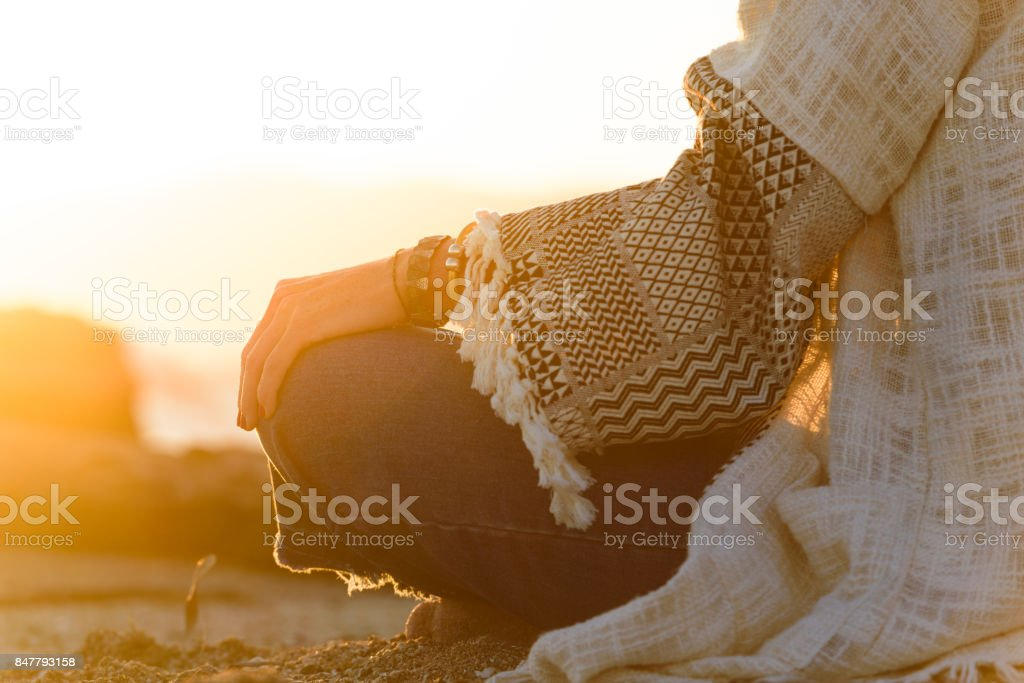 Woman looking at the sea in a relaxation moment stock photo