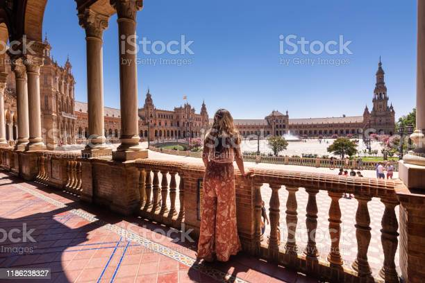 Woman Looking At View Of Plaza De España In Seville Spain Stock Photo - Download Image Now