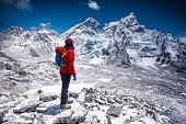 Woman looking at view on Himalayas