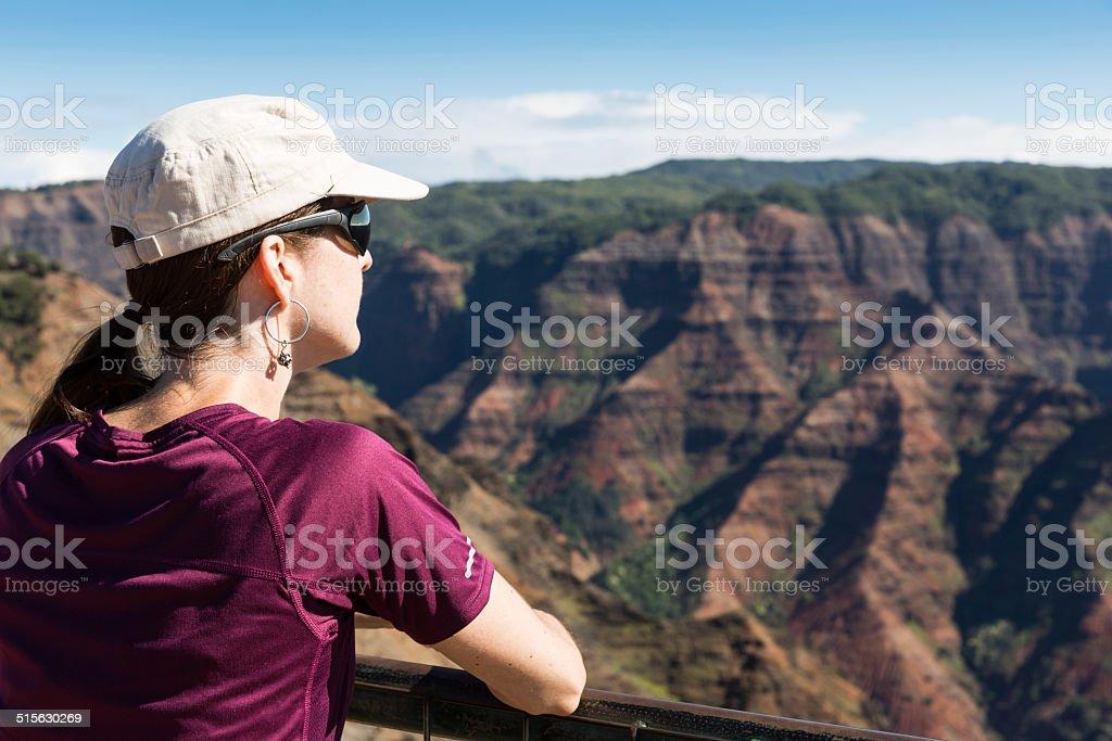Woman looking at Waimea Canyon stock photo