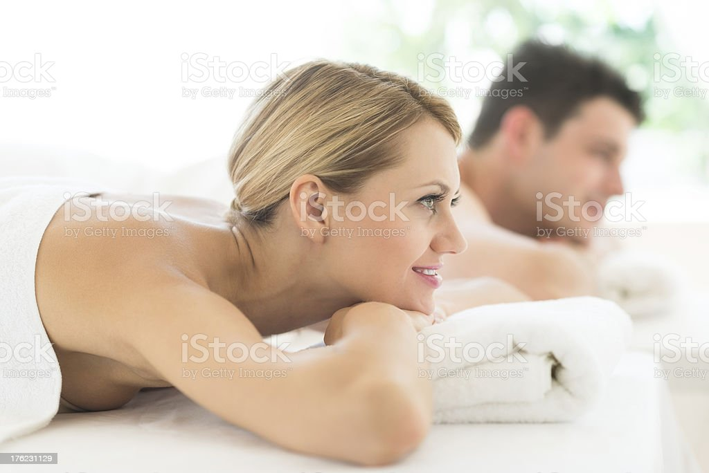 Woman Looking Away While Relaxing At Spa royalty-free stock photo