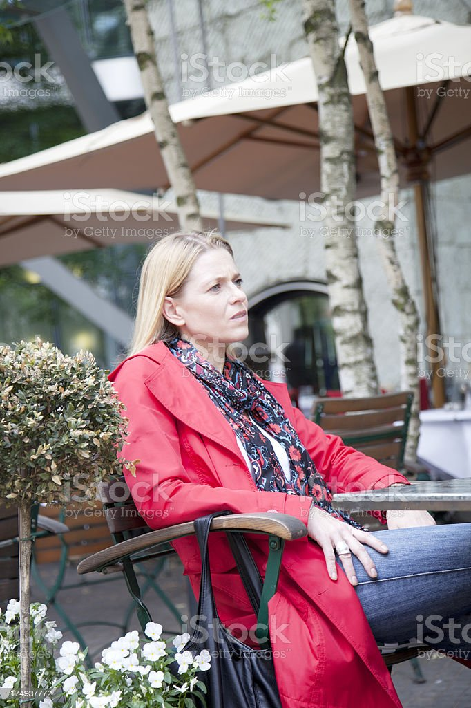 Woman looking concerned royalty-free stock photo