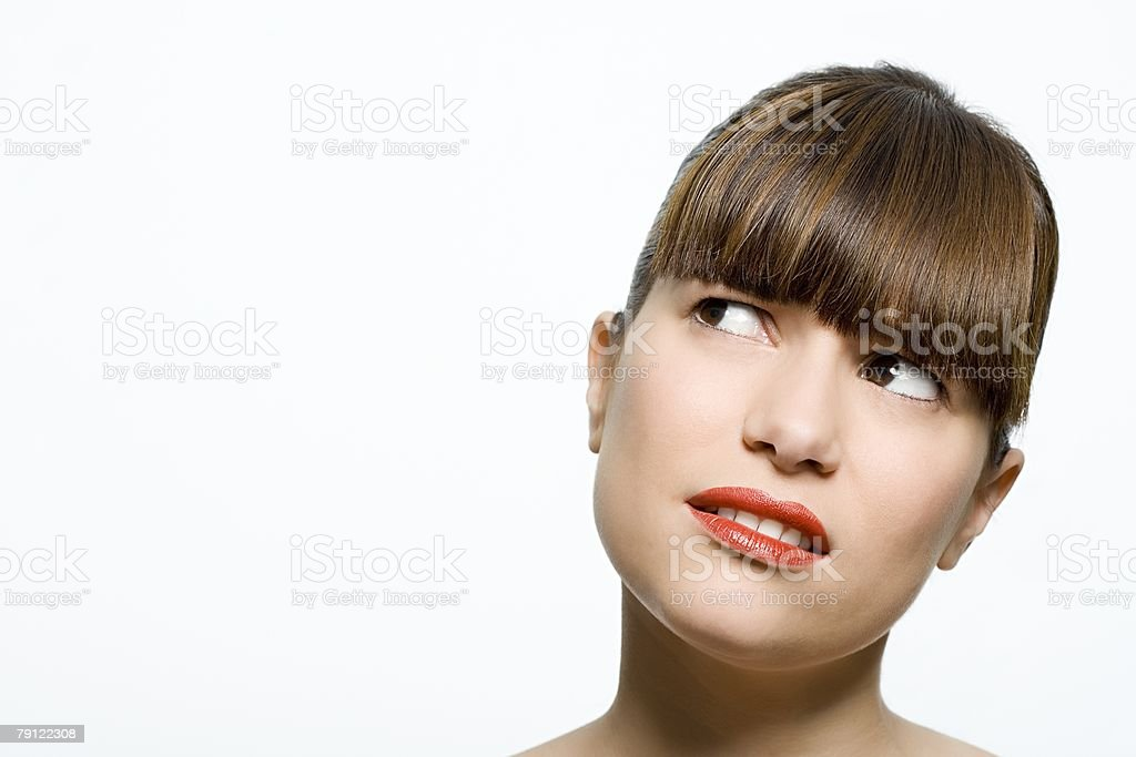 Woman looking confused stock photo