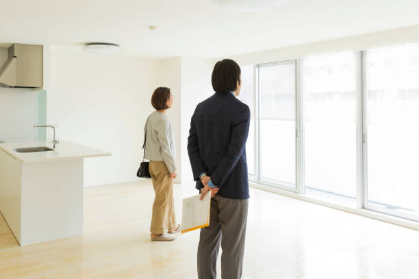 Woman looking for rental property stock photo