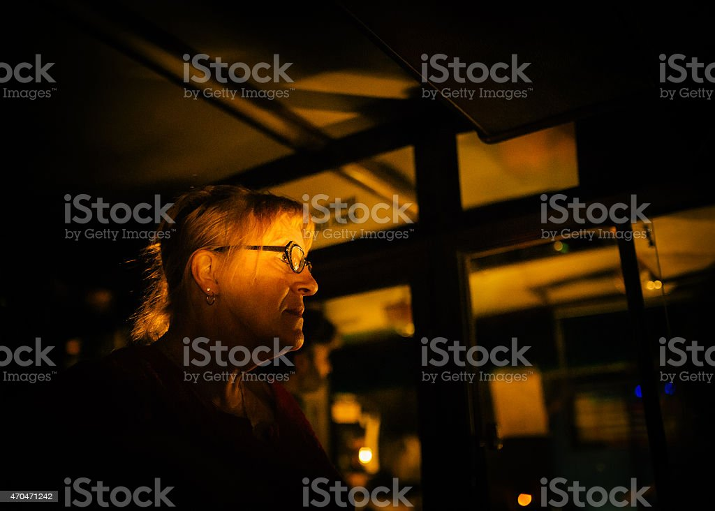 Woman looking in the shadows royalty-free stock photo