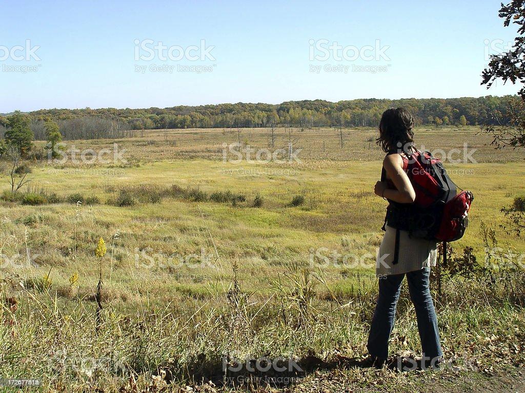 Woman Looking Into Vast Field stock photo