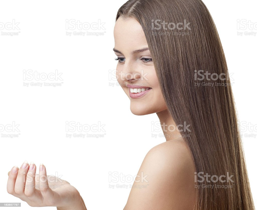 Woman Looking on Product royalty-free stock photo