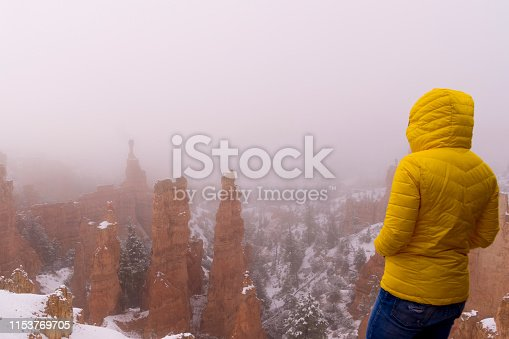This is a view of a woman viewing the rock formations in Bryce Canyon National Park after a spring snowstorm.  This is the Fairyland Gardens portion of the park and the formations are obscured by the fog the swept in with a spring snowstorm.