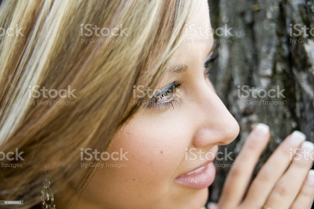 Woman looking out royalty-free stock photo