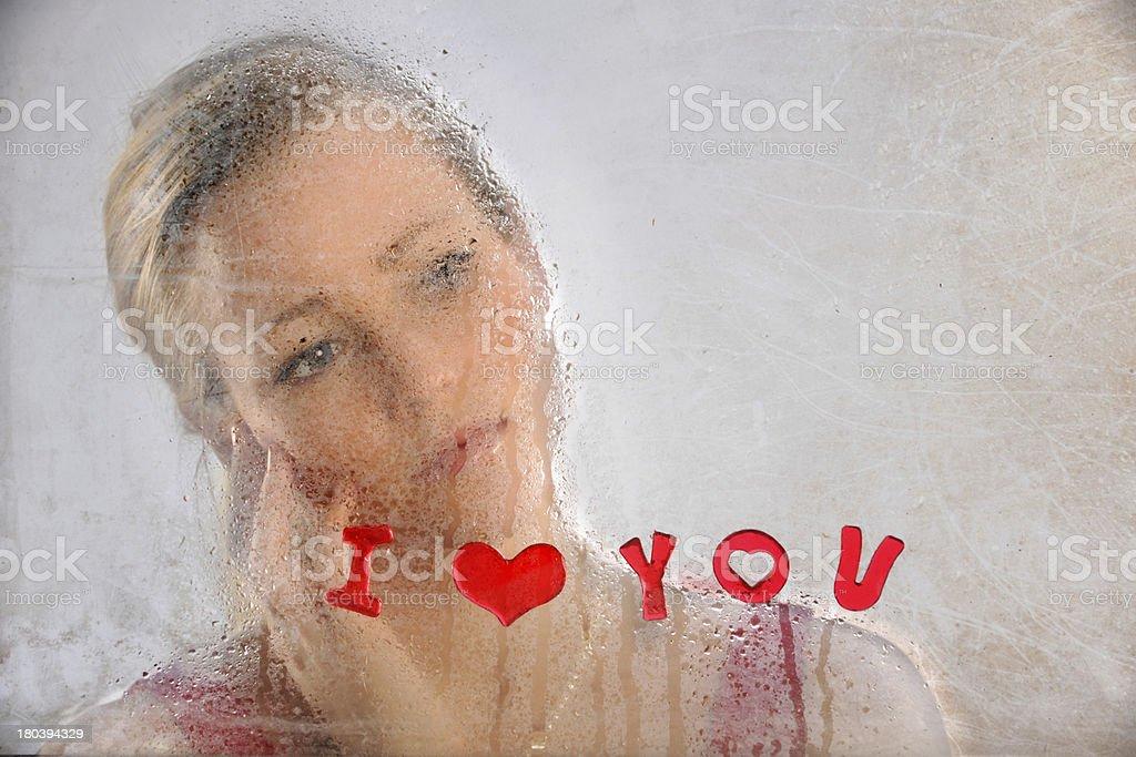 Woman Looking Outside Grunge Window royalty-free stock photo