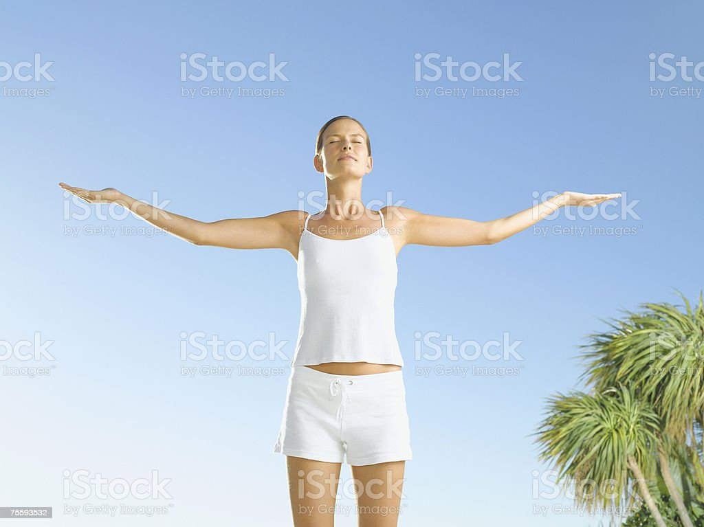 Woman looking serene royalty-free stock photo