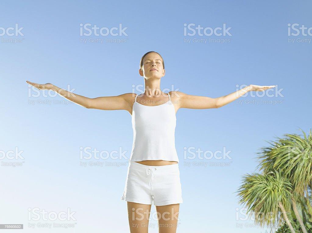 Woman looking serene stock photo