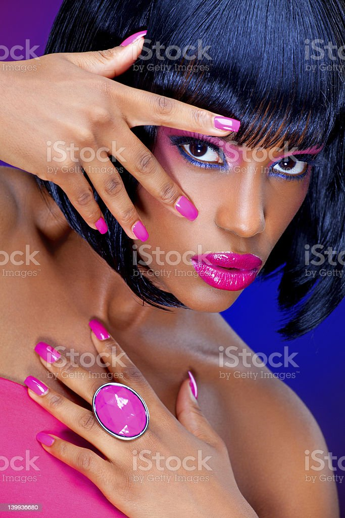 woman looking trough fingers royalty-free stock photo