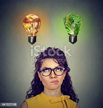 istock Woman looking up at junk food vegetables light bulb 647022108