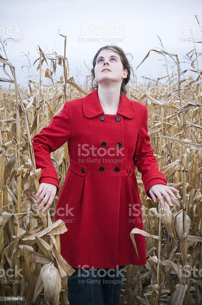 Woman Looking Up in Dark Conrfield royalty-free stock photo