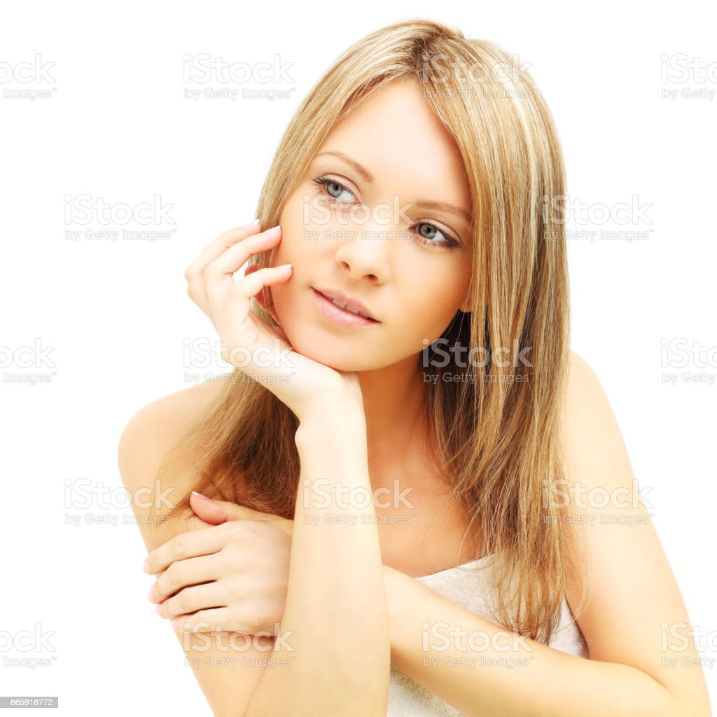 Woman looking up isolated foto stock royalty-free