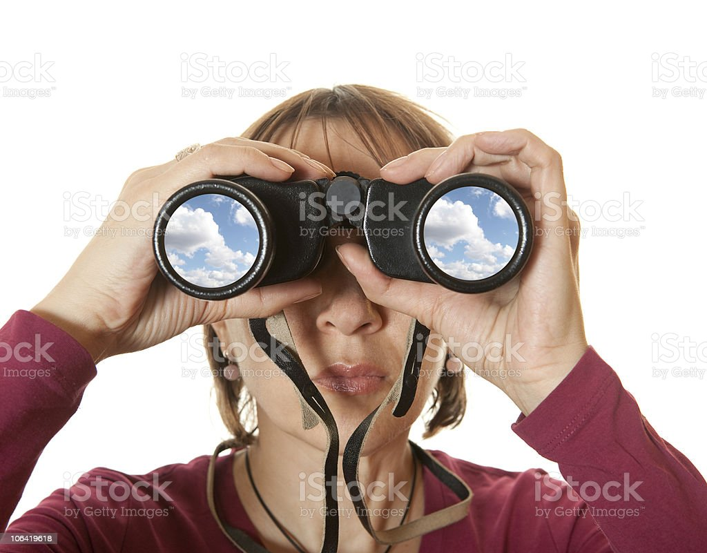 Woman looking with binoculars royalty-free stock photo