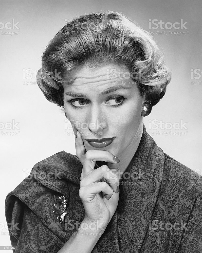 Woman looking worried royalty-free stock photo