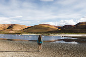 Woman exploring the scenic landscape of Atacama, Chile and enjoying the view of group of flamingoes