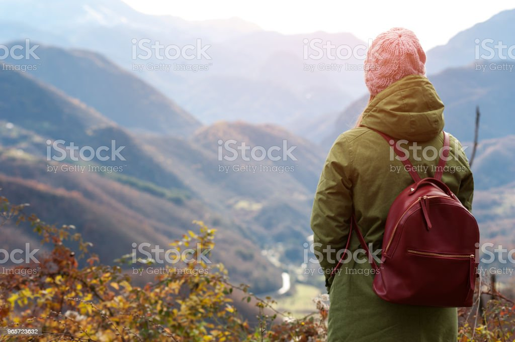 Woman looks at the beautiful hills - Royalty-free Adult Stock Photo