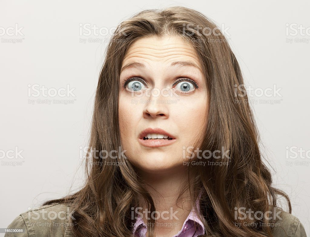 Woman Looks Scared stock photo