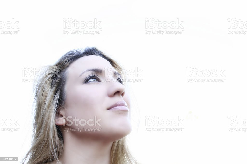 Woman looks Up 2 stock photo