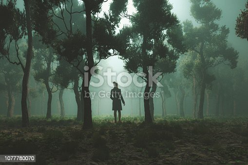 Woman lost in fantasy forest at night.