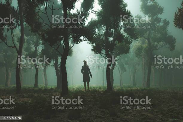 Photo of Woman lost in fantasy forest at night