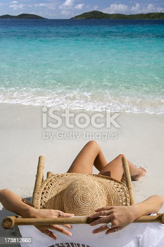 istock woman lounging on the beach 173812660