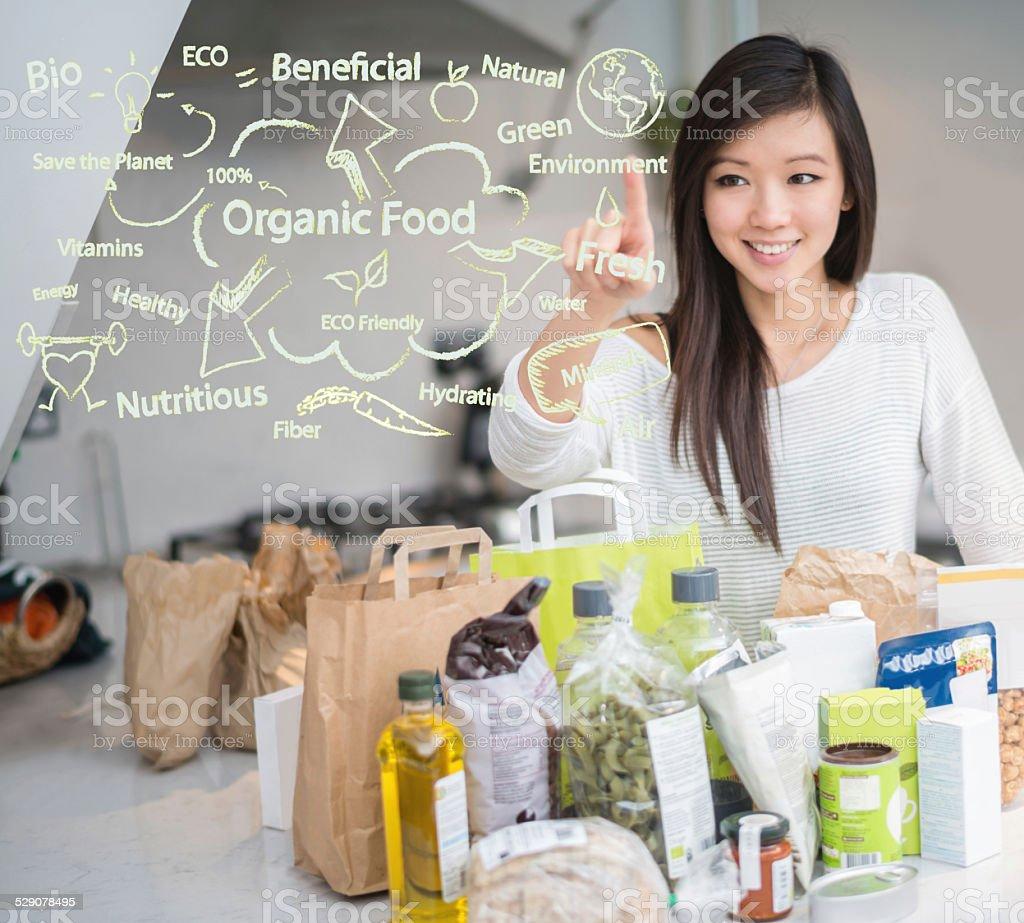 Woman loving organic food stock photo