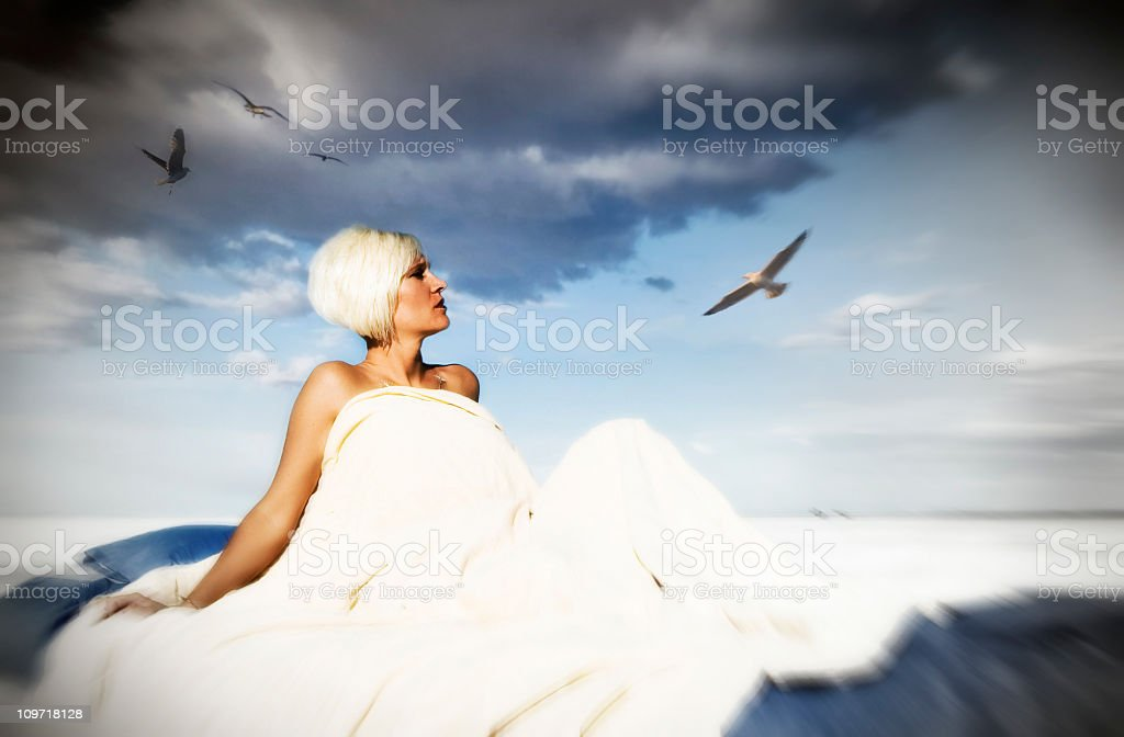 Woman Lucid Dreaming royalty-free stock photo