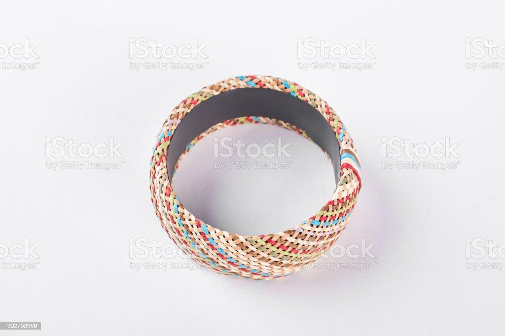 Woman luxury handmade bracelet, top view. stock photo