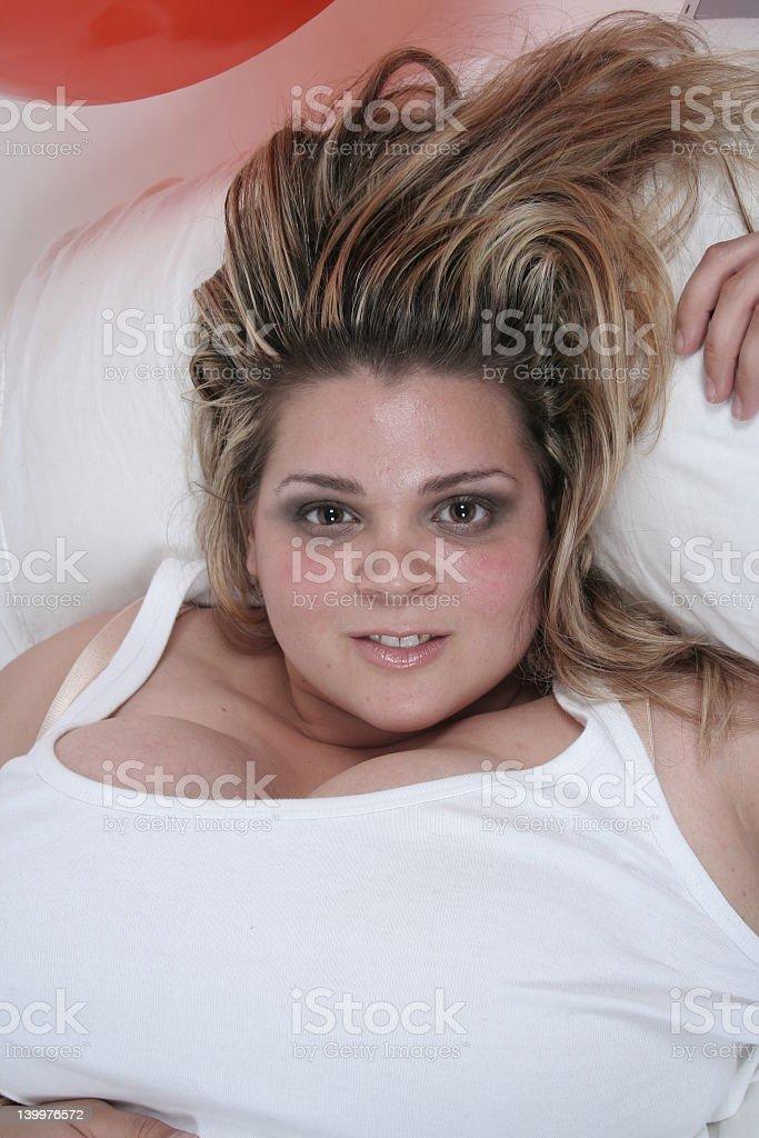 Woman lying down stock photo