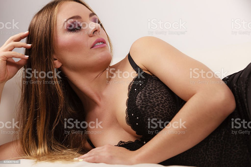 Sensational Woman Lying In Black Lace Lingerie On Couch Stock Photo Uwap Interior Chair Design Uwaporg