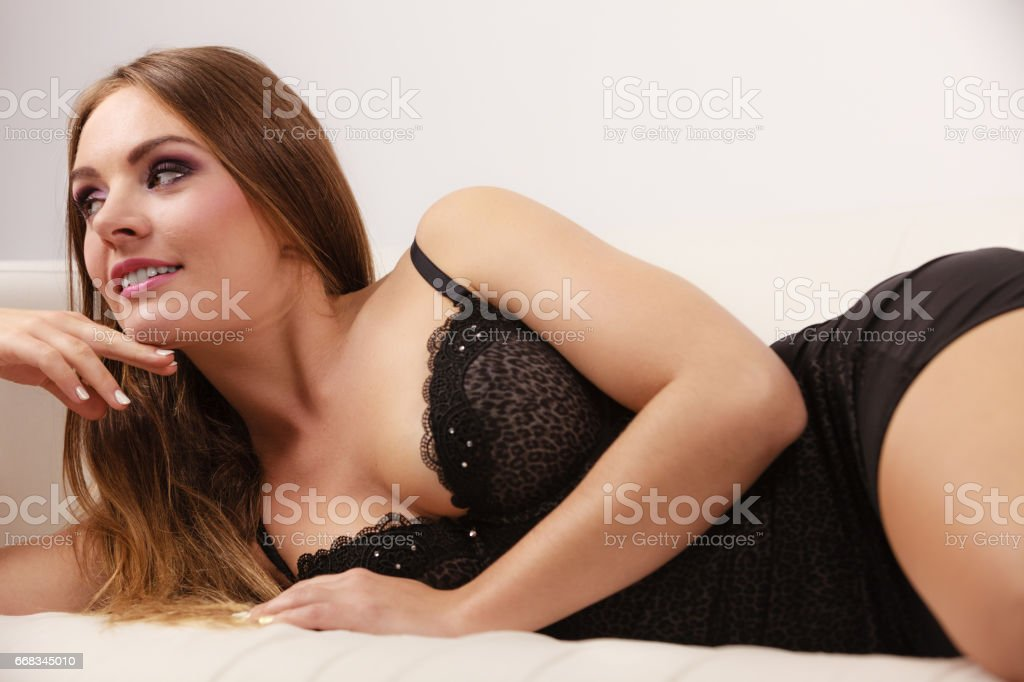 Outstanding Woman Lying In Black Lace Lingerie On Couch Stock Photo Uwap Interior Chair Design Uwaporg