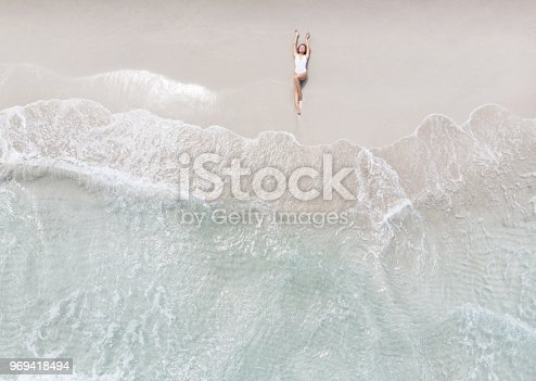istock Woman Lying On a Beach 969418494