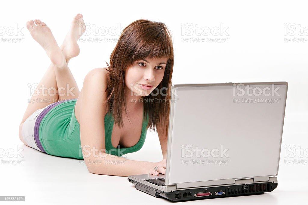 Woman lying on floor royalty-free stock photo