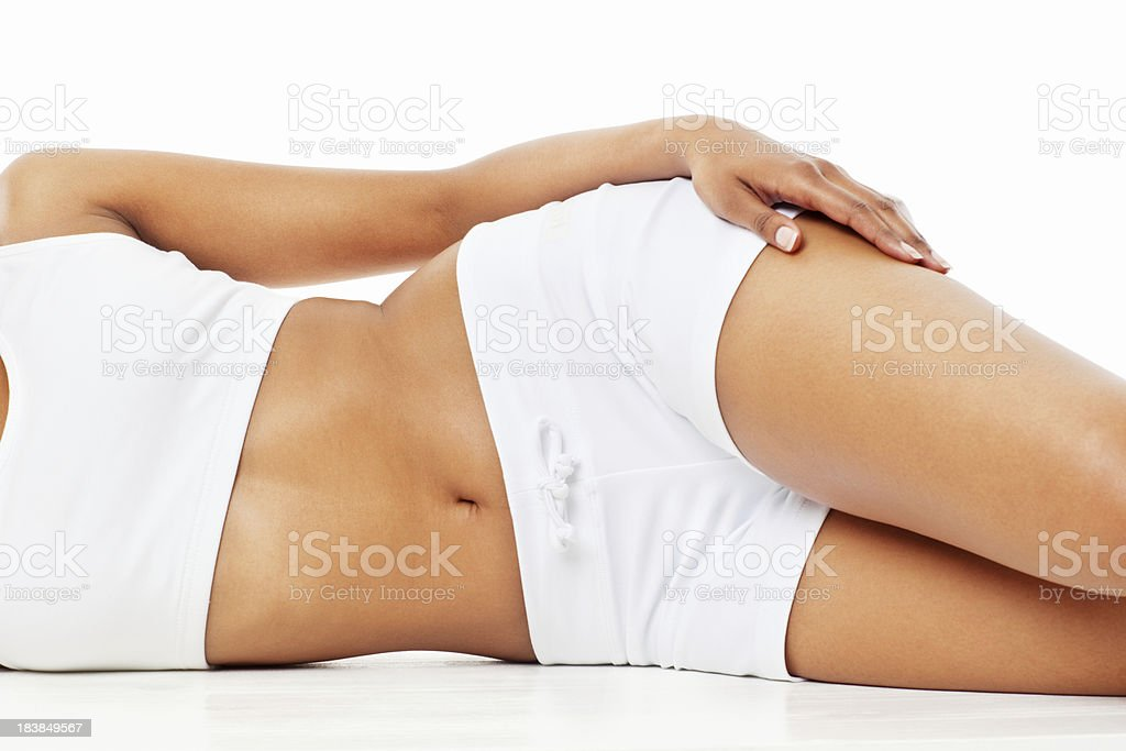 Woman Lying on Her Side stock photo