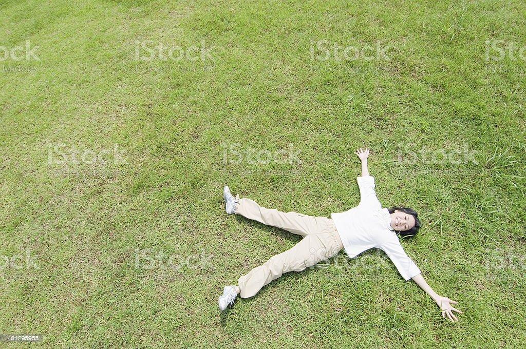 Woman lying stock photo