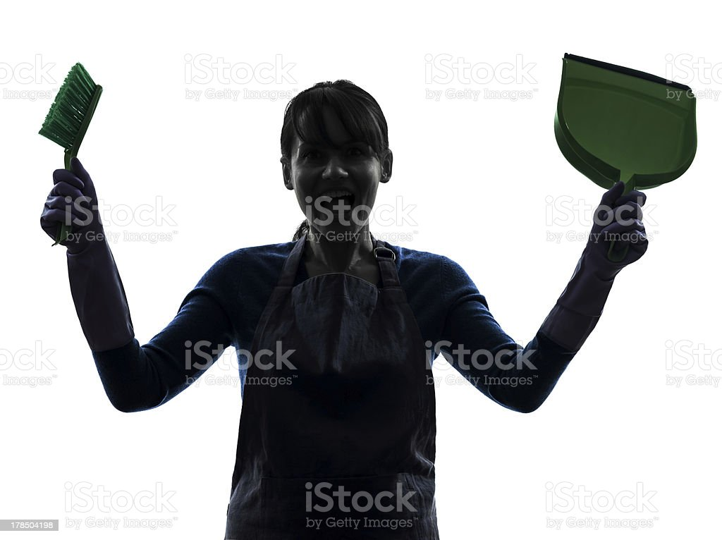 woman maid housework silhouette royalty-free stock photo