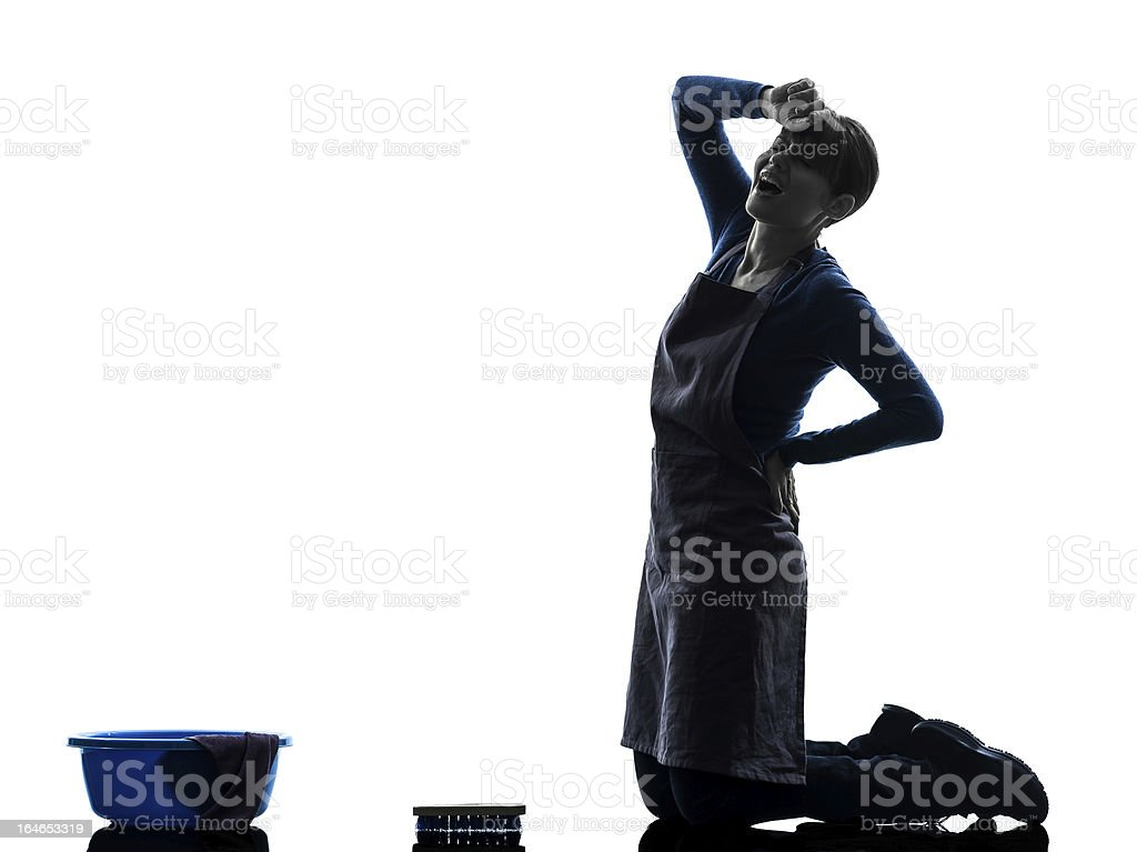 woman maid housework tired backache washing floor silhouette royalty-free stock photo