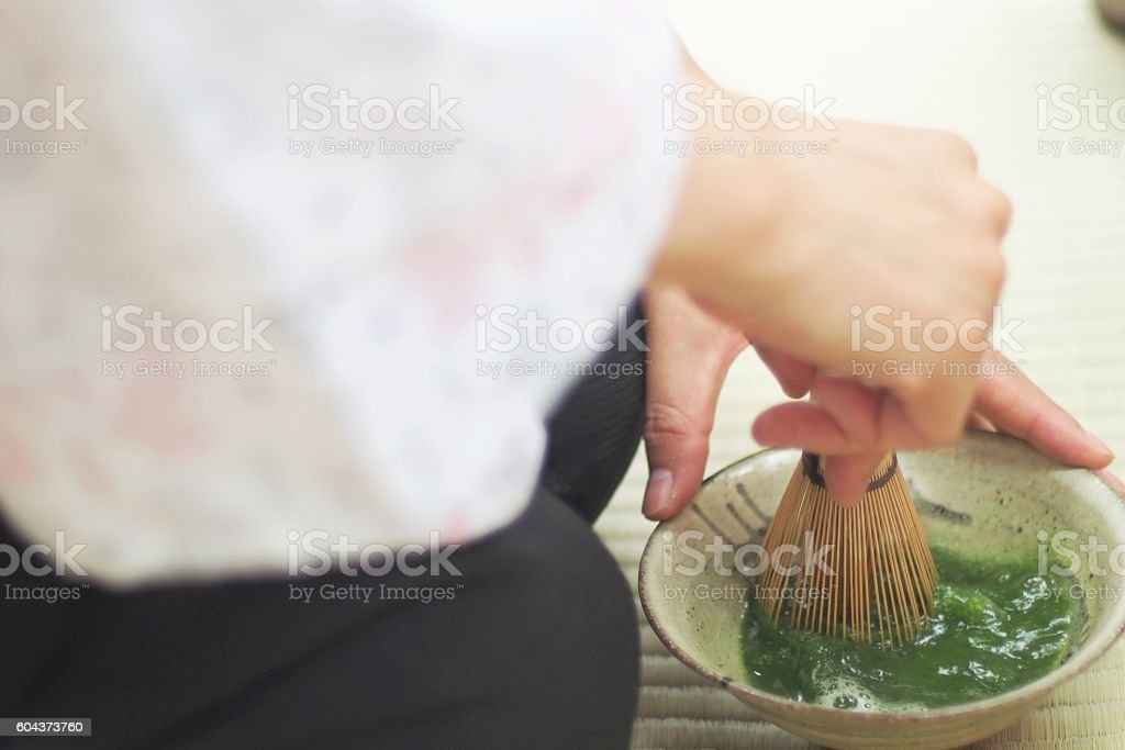 Woman  make  green tea stock photo