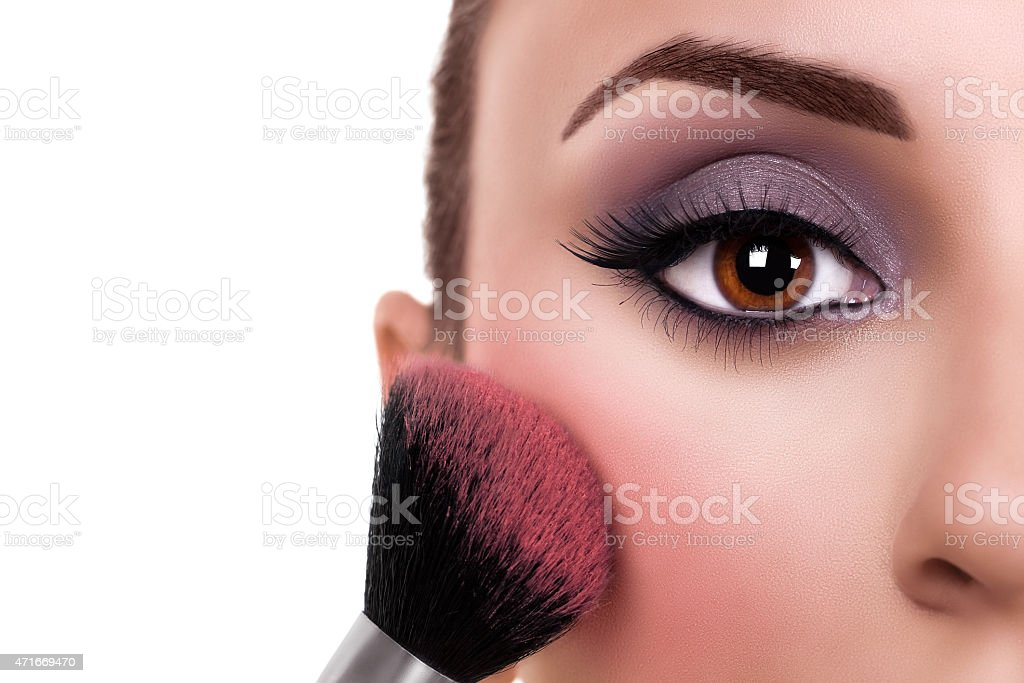 Woman Make Up Blush stock photo