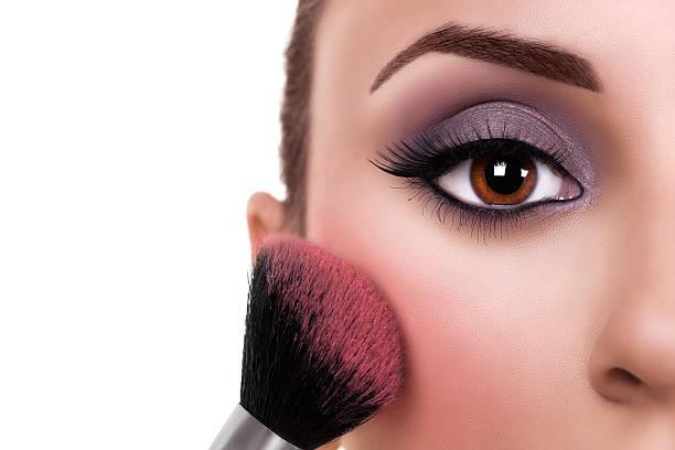 Woman Make Up Blush Beautiful woman make up and blush brush. Makeup. blusher make up stock pictures, royalty-free photos & images