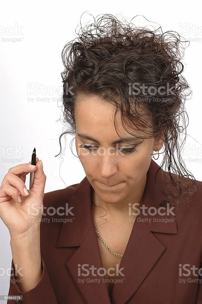 Woman makes a notes royalty-free stock photo