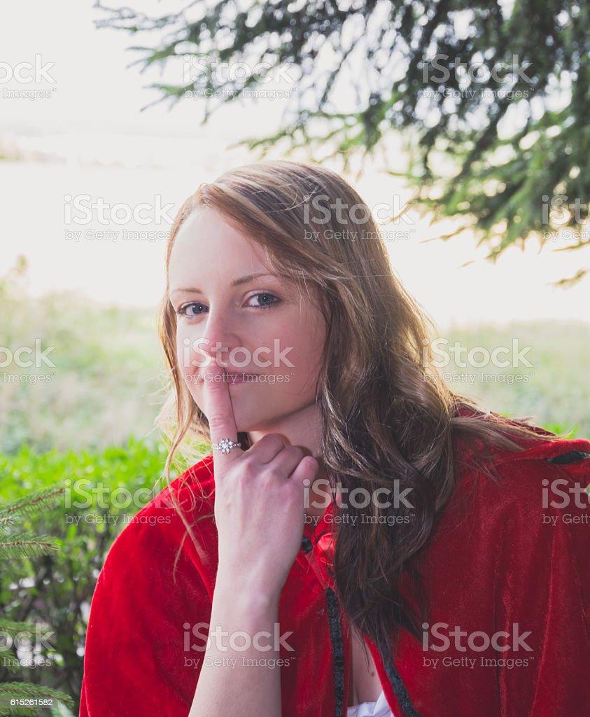 woman makes psst stock photo