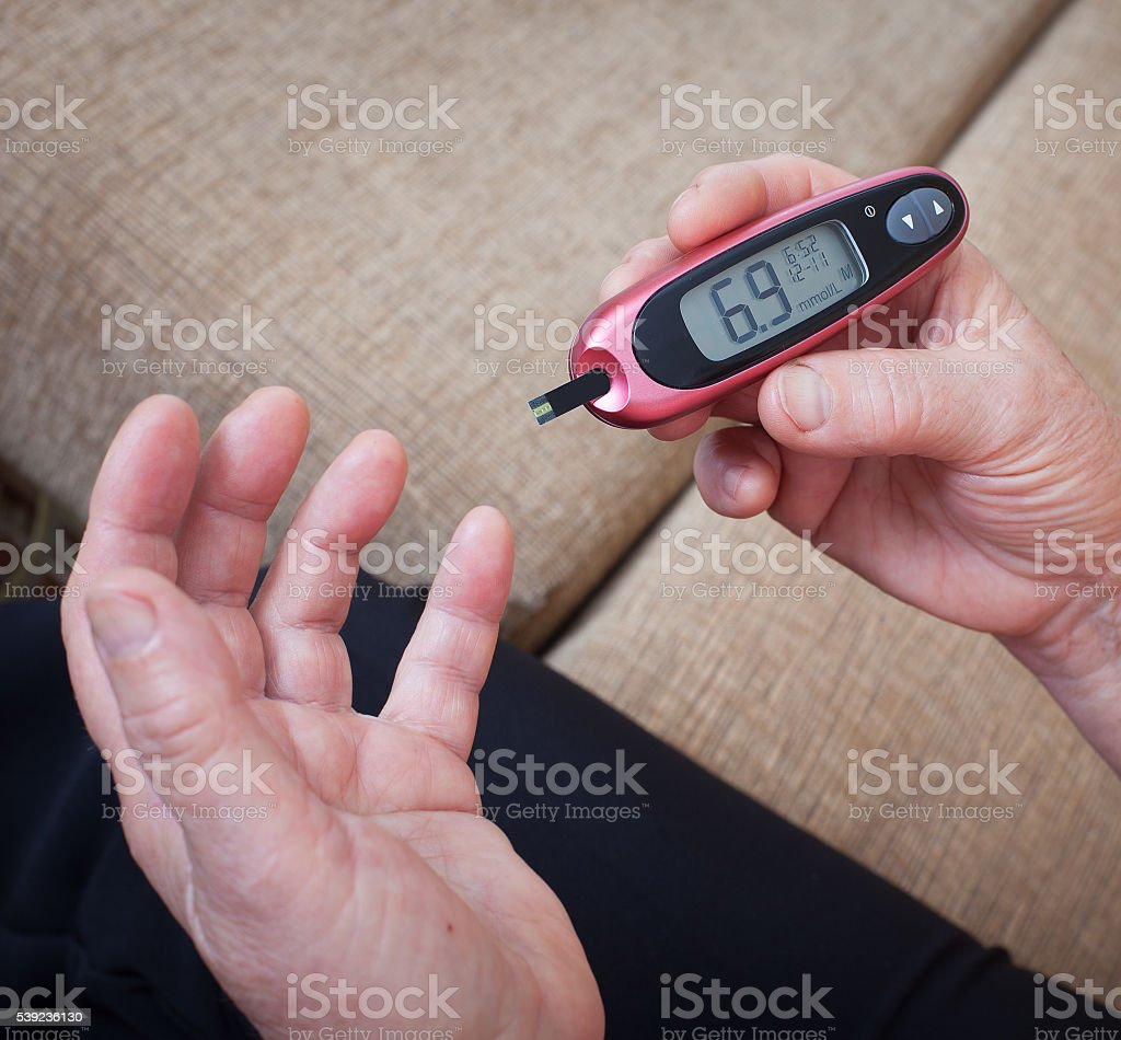 Woman makes testing high blood sugar. royalty-free stock photo